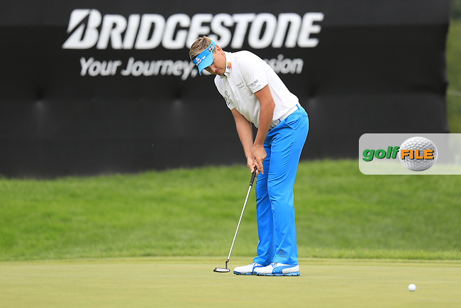 Ian Poulter (ENG) putts on the 9th green during Friday's Round 1 of the 2013 Bridgestone Invitational WGC tournament held at the Firestone Country Club, Akron, Ohio. 2nd August 2013.<br /> Picture: Eoin Clarke www.golffile.ie