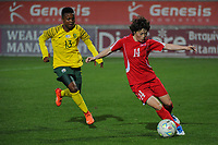 20190301 - LARNACA , CYPRUS : South African defender Bambanani Mbane (left) and North Korean midfielder Ri Hyang-sim (right) pictured during a women's soccer game between South Africa and Korea DPR , on Friday 1 March 2019 at the AEK Arena in Larnaca , Cyprus . This is the second game in group A for Both teams during the Cyprus Womens Cup 2019 , a prestigious women soccer tournament as a preparation on the Uefa Women's Euro 2021 qualification duels. PHOTO SPORTPIX.BE   STIJN AUDOOREN