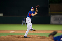 AZL Rangers starting pitcher Hans Crouse (55) follows through on his delivery against the AZL Giants on September 4, 2017 at Scottsdale Stadium in Scottsdale, Arizona. AZL Giants defeated the AZL Rangers 6-5 to advance to the Arizona League Championship Series. (Zachary Lucy/Four Seam Images)