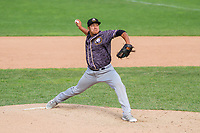 Quad Cities River Bandits pitcher Kevin Hill (36) during a Midwest League game against the Beloit Snappers on June 18, 2017 at Pohlman Field in Beloit, Wisconsin.  Quad Cities defeated Beloit 5-3. (Brad Krause/Krause Sports Photography)