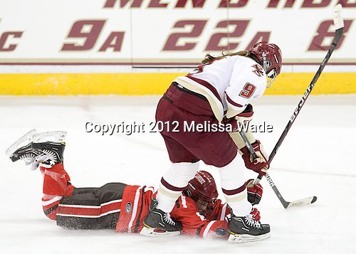 Amanda Boulier (SLU - 8), Taylor Wasylk (BC - 9) - The Boston College Eagles defeated the visiting St. Lawrence University Saints 6-3 (EN) in their NCAA Quarterfinal match on Saturday, March 10, 2012, at Kelley Rink in Conte Forum in Chestnut Hill, Massachusetts.
