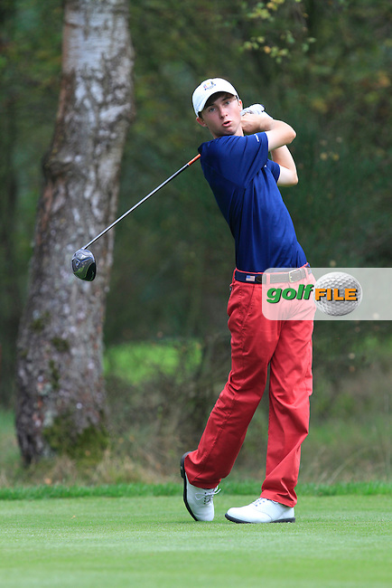 Austin Connelly (USA) on the 6th tee of the Mixed Fourballs, puts to go two up during the 2014 JUNIOR RYDER CUP at the Blairgowrie Golf Club, Perthshire, Scotland. <br /> Picture:  Thos Caffrey / www.golffile.ie