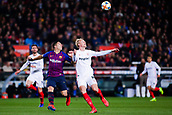30th January 2019, Camp Nou, Barcelona, Spain; Copa del Rey football, quarter final, second leg, Barcelona versus Sevilla; Luis Suarez of FC Barcelona challenges for the ball against Kjaer of Sevilla CF
