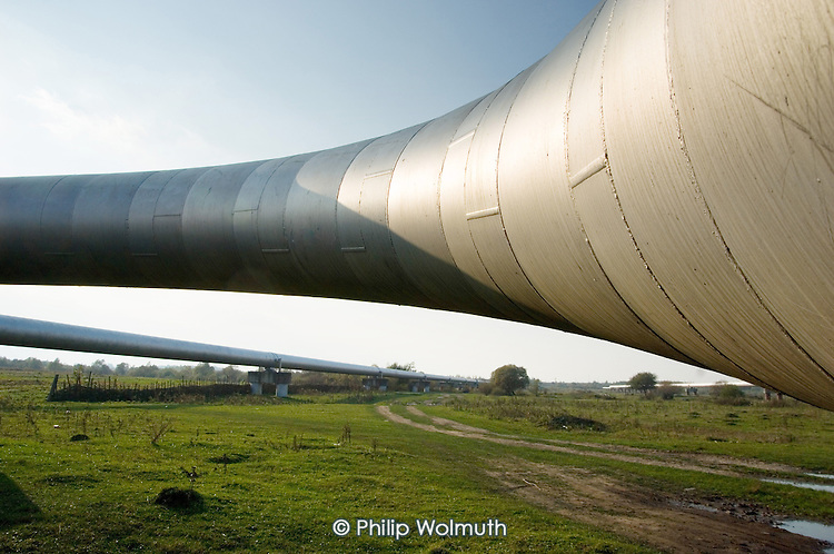 The Southern Druzhba oil pipeline passing through farmland outside the city of Ivano-Frankivsk. The pipe crosses Ukraine, connecting Russia and Hungary.