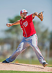 25 February 2016: Washington Nationals pitcher Taylor Hill throws during the first full squad Spring Training workout at Space Coast Stadium in Viera, Florida. Mandatory Credit: Ed Wolfstein Photo *** RAW (NEF) Image File Available ***