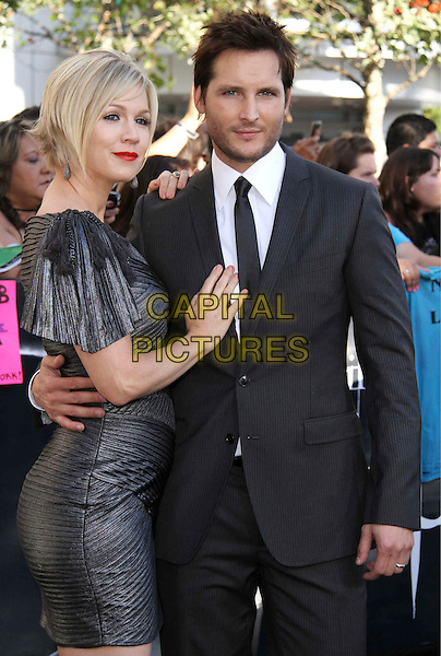 "JENNIE GARTH & PETER FACINELLI .""The Twilight Saga: Eclipse"" Los Angeles Film Premiere at the 2010 Los Angeles Film Festival held at Nokia Theatre LA Live,  Los Angeles, California, USA, 24th June 2010..half length dress silver grey gray black suit tie married couple husband wife .CAP/ADM/CH.©Charles Harris/AdMedia/Capital Pictures"