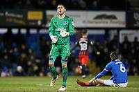 Blackburn Rovers' Adam Armstrong runs off to celebrate his second goal as Portsmouth's goalkeeper Luke McGee despairs <br /> <br /> Photographer Andrew Kearns/CameraSport<br /> <br /> The EFL Sky Bet League One - Portsmouth v Blackburn Rovers - Tuesday 13th February 2018 - Fratton Park - Portsmouth<br /> <br /> World Copyright &copy; 2018 CameraSport. All rights reserved. 43 Linden Ave. Countesthorpe. Leicester. England. LE8 5PG - Tel: +44 (0) 116 277 4147 - admin@camerasport.com - www.camerasport.com