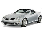 Front three quarter view of a Mercedes Benz SLK Class sports car.