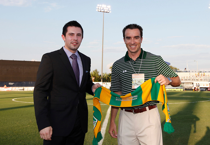 May 27, 2010; TAMPA, FLORIDA: President and Governor/Owner Andrew Nestor presents a Striped Scarf to Rob Higgins before the FC Tampa Bay Rowdies 3-1 victory over the Minnesota Stars at Steinbrenner Field in Tampa, Florida. Photo by Matt May/FC Tampa Bay Rowdies