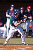 Mike Marcinko (2) of the Shippensburg Raiders squares to bunt against the Belmont Abbey Crusaders at Abbey Yard on February 8, 2015 in Belmont, North Carolina.  The Raiders defeated the Crusaders 14-0.  (Brian Westerholt/Four Seam Images)