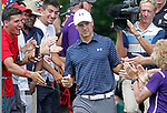 Cromwell, CT-25 JUNE 25 2017-062517MK14 Jordan Spieth is greeted by fans at the first tee during  the final round of the 2017 Travelers Championship at the TPC River Highlands in Cromwell. Michael Kabelka / Republican-American