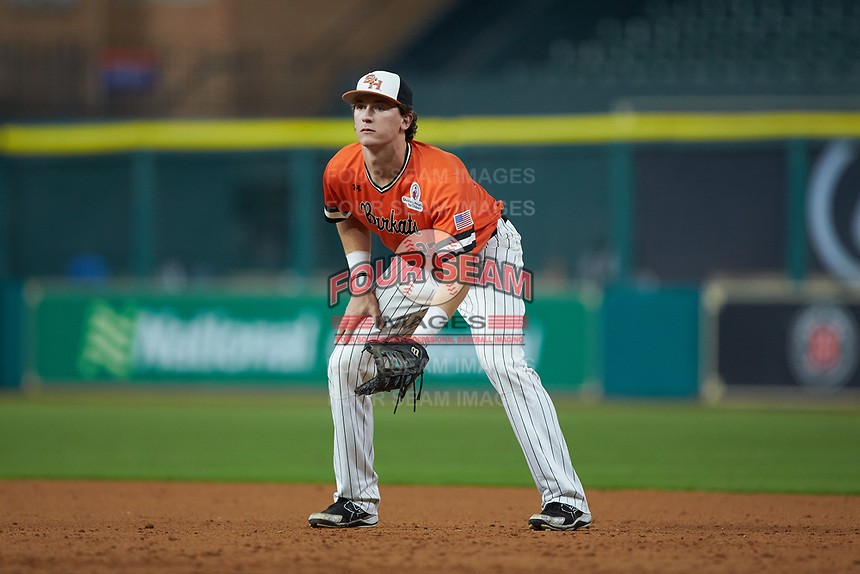 Blake Chisolm (27) of the Sam Houston State Bearkats on defense against the Mississippi State Bulldogs during game eight of the 2018 Shriners Hospitals for Children College Classic at Minute Maid Park on March 3, 2018 in Houston, Texas. The Bulldogs defeated the Bearkats 4-1.  (Brian Westerholt/Four Seam Images)