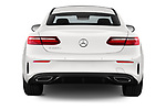 Straight rear view of 2017 Mercedes Benz E Class AMG Line 2 Door Coupe stock images