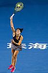 Anastasija Sevastova of Latvia serves during the singles semi final match of the WTA Elite Trophy Zhuhai 2017 against Julia Goerges of Germanyat Hengqin Tennis Center on November  04, 2017 in Zhuhai, China. Photo by Yu Chun Christopher Wong / Power Sport Images