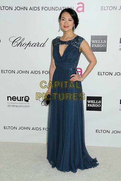 Ziyi Zhang.20th Annual Elton John Academy Awards Viewing Party held at West Hollywood Park, West Hollywood, California, USA..February 26th, 2012.oscars full length blue dress sleeveless hand on hip.CAP/ADM/BP.©Byron Purvis/AdMedia/Capital Pictures.