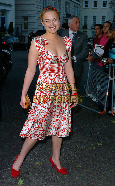 SOPHIA MYLES.Glamour magazine's 3rd Annual Woman of the Year Awards Berkeley Square Gardens - Arrivals, London, UK. .June 6th, 2006 .Ref: CAN.full length red dress floral print shoes .www.capitalpictures.com.sales@capitalpictures.com.©Capital Pictures