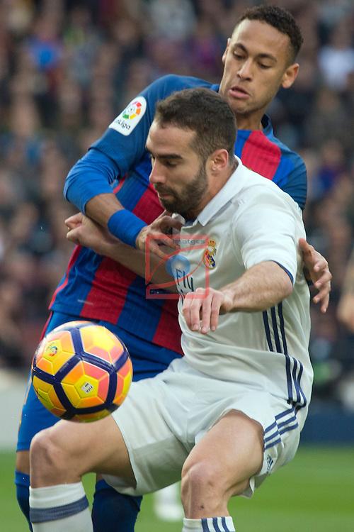 League Santander 2016/2017. Game: 14.<br /> FC Barcelona vs Real Madrid: 1-1.<br /> Neymar vs Carvajal.