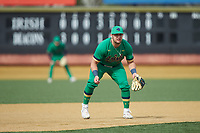 Notre Dame Fighting Irish third baseman Niko Kavadas (12) on defense against the Wake Forest Demon Deacons at David F. Couch Ballpark on March 10, 2019 in  Winston-Salem, North Carolina. The Demon Deacons defeated the Fighting Irish 7-4 in game one of a double-header.  (Brian Westerholt/Four Seam Images)