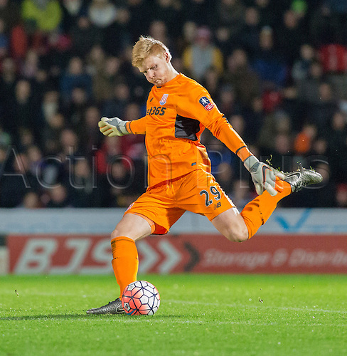 09.01.2016. Keepmoat Stadium, Doncaster, England. Emirates FA Cup 3rd Round. Doncaster versus Stoke City. Stoke City goalkeeper Jakob Haugaard plays the ball downfield during the later minutes of the second half.