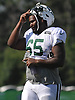 Javarius Leamon #65 heads off the field after a day of New York Jets Training Camp at Atlantic Health Jets Training Center in Florham Park, NJ on Tuesday, Aug. 1, 2017.