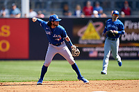Toronto Blue Jays shortstop Bo Bichette (11) throws to first base during a Spring Training game against the New York Yankees on February 22, 2020 at the George M. Steinbrenner Field in Tampa, Florida.  (Mike Janes/Four Seam Images)