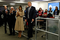 United States President Donald J. Trump greets employee at the National Response Coordination Center inside the FEMA headquarters on June 6, 2018 in Washington, DC. <br /> <br /> CAP/MPI/RS<br /> &copy;RS/MPI/Capital Pictures