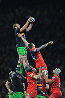 Chris Robshaw of Harlequins wins a lineout during Big Game 12 in the Gallagher Premiership Rugby match between Harlequins and Leicester Tigers at Twickenham Stadium on Saturday 28th December 2019 (Photo by Rob Munro/Stewart Communications)