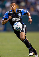 San Jose Earthquakes defender Jason Hernandez (21) moves towards the ball. The LA Galaxy and the San Jose Earthquakes played to a 2-2 draw at Home Depot Center stadium in Carson, California on Thursday July 22, 2010.