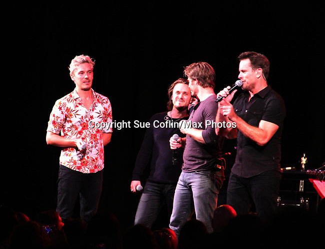 """General Hospital's Jonathan Jackson """"Avery Barkley"""" stars in Nashville with costars Sam Palladio """"Gunner"""", Chris Carmack """"Will"""", and Charles Esten """"Deacon"""" and perform live in concert at WolfTrap, Vienna, Virginia. (Photo by Sue Coflin/Max Photos)"""