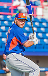 5 March 2015: New York Mets catcher Johnny Monell awaits his turn in the batting cage prior to a Spring Training game against the Washington Nationals at Space Coast Stadium in Viera, Florida. The Mets fell to the Nationals after a late inning rally, dropping a 5-4 Grapefruit League game. Mandatory Credit: Ed Wolfstein Photo *** RAW (NEF) Image File Available ***