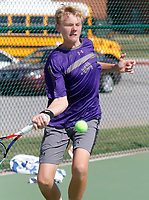 NWA Democrat-Gazette/DAVID GOTTSCHALK  Fayetteville High School's Jake Sweeney competes Friday, October 6, 2017, in the 7A-West Conference tennis tournament at Springdale Har-Ber High School tennis courts in Springdale. Sweeney was playing against Har-Ber High School's Conor Clardy.