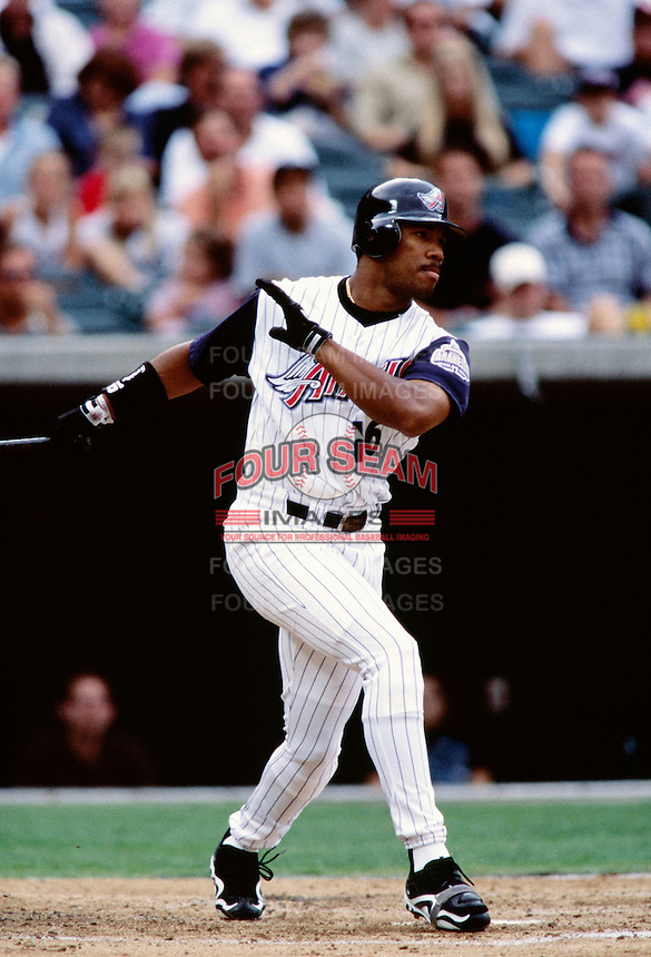 Garret Anderson of the Anaheim Angels plays in a baseball game at Edison International Field during the 1998 season in Anaheim, California. (Larry Goren/Four Seam Images)