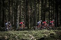 Team Trek Segafreod riding the forest of the Baraque Fraiture. <br /> <br /> <br /> 104th Liège - Bastogne - Liège 2018 (1.UWT)<br /> 1 Day Race: Liège - Ans (258km)