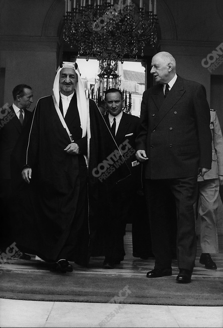 French President Charles de Gaulle with King Faisal of Saudi Arabia, Elysee Palace, Paris, France, June 1967