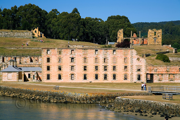 View across Mason Cove to the Penitentiary and ruins at the Port Arthur Historic Site.  The convict prison was in operation from 1830 to1877.  Port Arthur, Tasmania, AUSTRALIA