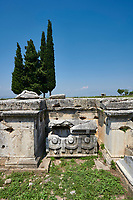 Picture of a Tomb A6  and Sarcophagus of the North Necropolis. Hierapolis archaeological site near Pamukkale in Turkey.