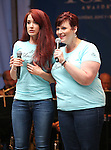 Sierra Boggess and Lisa Howard performing at United presents 'Stars in the Alley' in  Shubert Alley on May 27, 2015 in New York City.