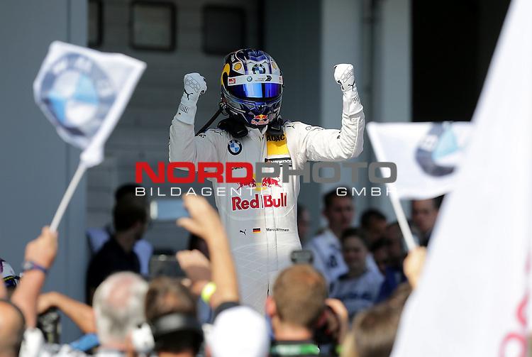 10.09.2016, N&uuml;rburgring, N&uuml;rburg, DTM 2016, 07.Lauf N&uuml;rburgring, 09.09.-11.09.2016, im Bild<br /> Sieger des ersten Rennens am Samstag, Marco Wittmann (DEU#11) BMW Team RMG, BMW M4 DTM  der auf seinem Auto stehend den Fans zu jubelt<br /> <br /> <br /> <br /> <br /> <br /> <br /> <br /> Foto &copy; nordphoto / Bratic