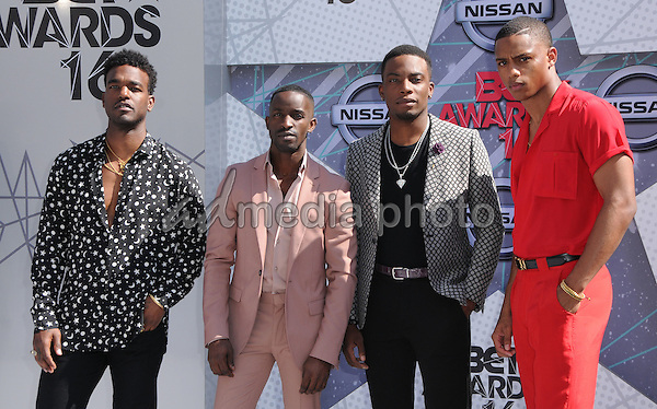 26 June 2016 - Los Angeles. Luke James, Elijah Kelley, Woody McClain, Keith Powers. Arrivals for the 2016 BET Awards held at the Microsoft Theater. Photo Credit: Birdie Thompson/AdMedia