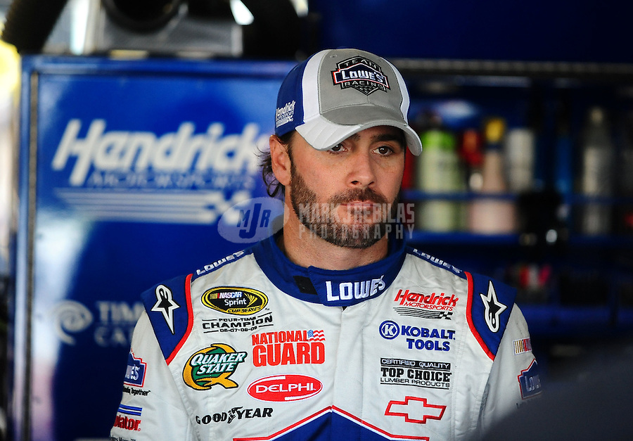 Oct. 2, 2010; Kansas City, KS, USA; NASCAR Sprint Cup Series driver Jimmie Johnson during practice for the Price Chopper 400 at Kansas Speedway. Mandatory Credit: Mark J. Rebilas-