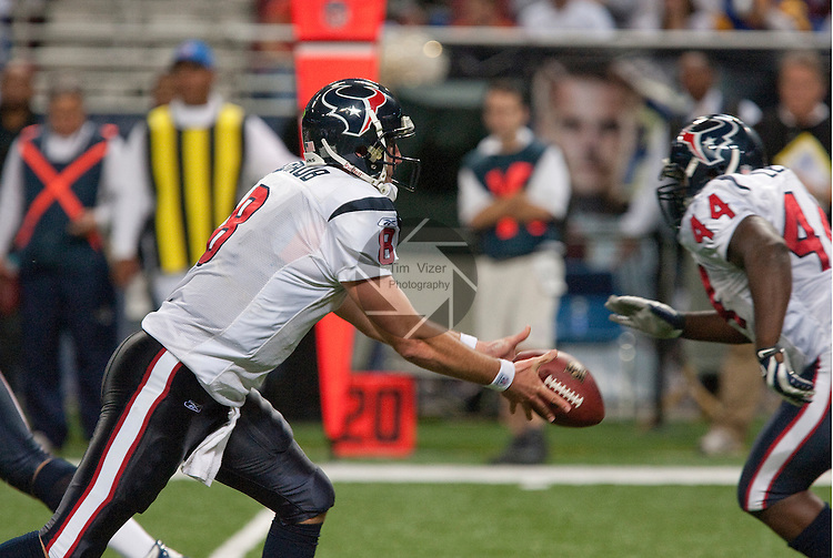 December 20, 2009                      Houston Texans quarterback Matt Schaub (8) fakes a handoff to Houston Texans FB Vonta Leach (44) and instead pitches it to Houston Texans running back Ryan Moats (not shown) in the second half.   The St. Louis Rams hosted the Houston Texans at the Edward Jones Dome in downtown St. Louis on Sunday December 20, 2009.  The Texans defeated the Rams, 16-13.  The Texans improved their won-loss record to 7-7, and the Rams record now stands at 1-13.