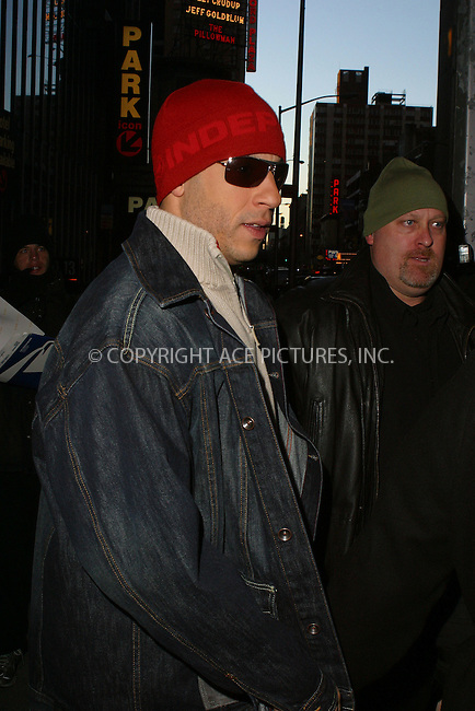 WWW.ACEPIXS.COM . . . . .  ....NEW YORK, MARCH 3, 2005....Vin Diesel seen exiting MTV's TRL.....Please byline: PAUL CUNNINGHAM - ACE PICTURES..... *** ***..Ace Pictures, Inc:  ..Philip Vaughan (646) 769-0430..e-mail: info@acepixs.com..web: http://www.acepixs.com