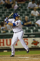 Round Rock Express third baseman Mike Olt (20) at bat during the Pacific Coast League baseball game against the New Orleans Zephyrs on June 30, 2013 at the Dell Diamond in Round Rock, Texas. Round Rock defeated New Orleans 5-1. (Andrew Woolley/Four Seam Images)