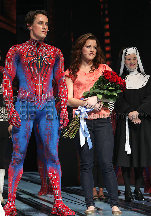 Reeve Carney with Rebecca Faulkenberry as she debuts in 'Spider-Man Turn Off The Dark' at the Foxwoods Theatre in New York City...