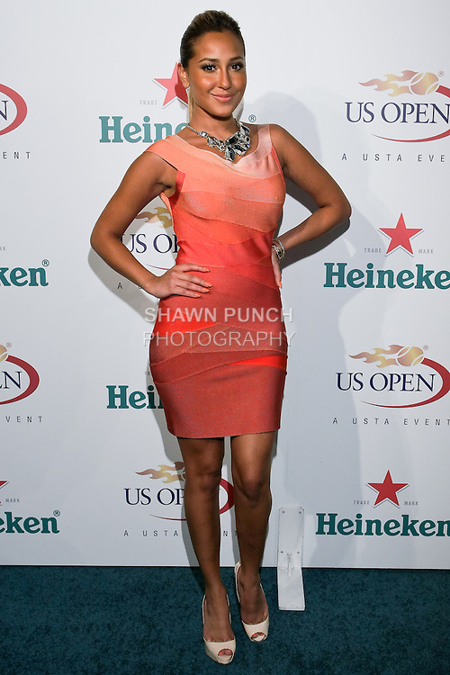 Adrienne Bailon arrives at the US Open Player Party at The Empire Hotel, August 27, 2010.