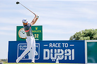 Gregory Bourdy (FRA) on the 1st tee during the 1st round of the 2017 Portugal Masters, Dom Pedro Victoria Golf Course, Vilamoura, Portugal. 21/09/2017<br /> Picture: Fran Caffrey / Golffile<br /> <br /> All photo usage must carry mandatory copyright credit (&copy; Golffile | Fran Caffrey)