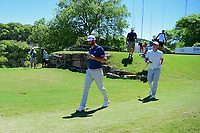 Dustin Johnson (USA) and Alex Noren (SWE) depart the 6th tee during round 5 of the World Golf Championships, Dell Technologies Match Play, Austin Country Club, Austin, Texas, USA. 3/25/2017.<br /> Picture: Golffile | Ken Murray<br /> <br /> <br /> All photo usage must carry mandatory copyright credit (&copy; Golffile | Ken Murray)