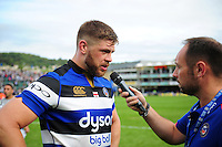 Dave Attwood of Bath Rugby is interviewed after the match. Aviva Premiership match, between Bath Rugby and Newcastle Falcons on September 10, 2016 at the Recreation Ground in Bath, England. Photo by: Patrick Khachfe / Onside Images
