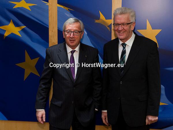 Brussels-Belgium - February 02, 2015 -- Jean-Claude JUNCKER (le), President of the European Commission, receives Winfried KRETSCHMANN (ri),  Minister-President of the state of Baden-Wuerttemberg (Germany) -- Photo: © HorstWagner.eu