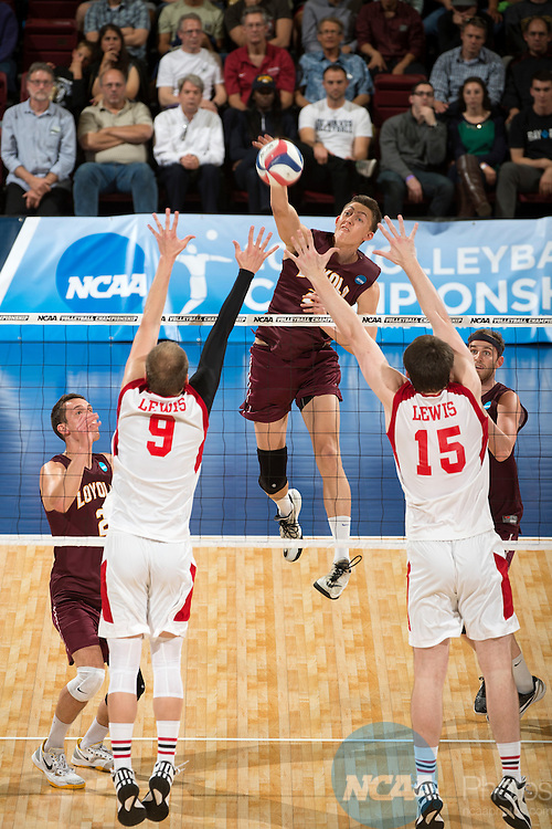 09 MAY 2015:  Jeff Jendryk (21) of Loyola University hits a kill against Lewis University during the Division I Men's Volleyball Championship held at Maples Pavilion on the Stanford University campus in Stanford, CA.  Loyola defeated Lewis 3-2 for the national title.  Jamie Schwaberow/NCAA Photos